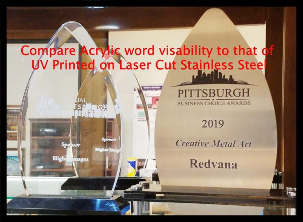 Awards comparing Stainless Steel to clear acrylic