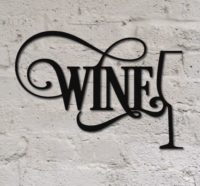 Wine Script With Glass Outline, Metal sign painted