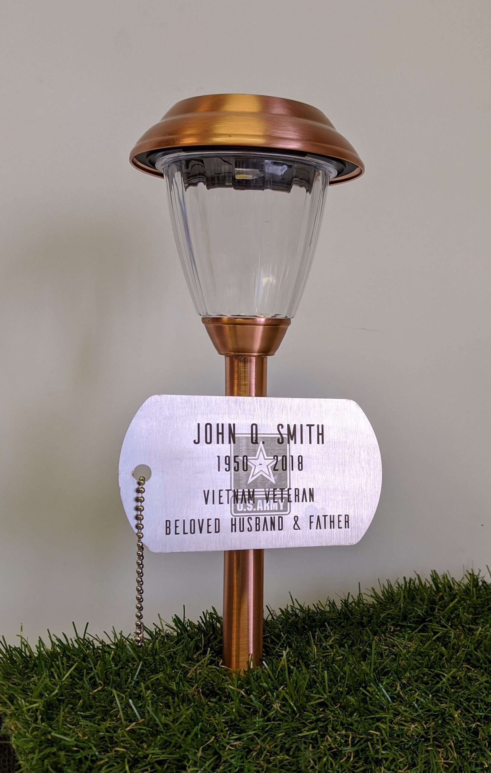 Memorial Military Plaque, Personalized and Solar Light, Stainless Steel