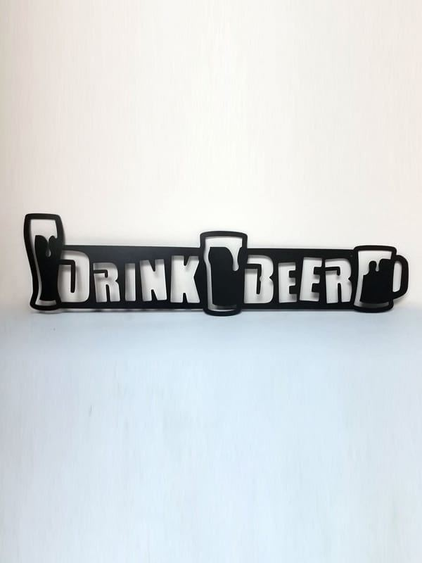 "Black ""Drink Beer"" Bar Sign"