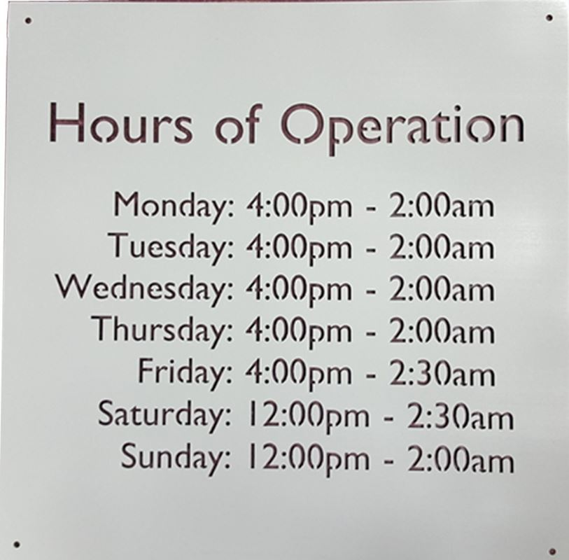 Hours of Operation, Metal Sign for Businesses, 14 x 14