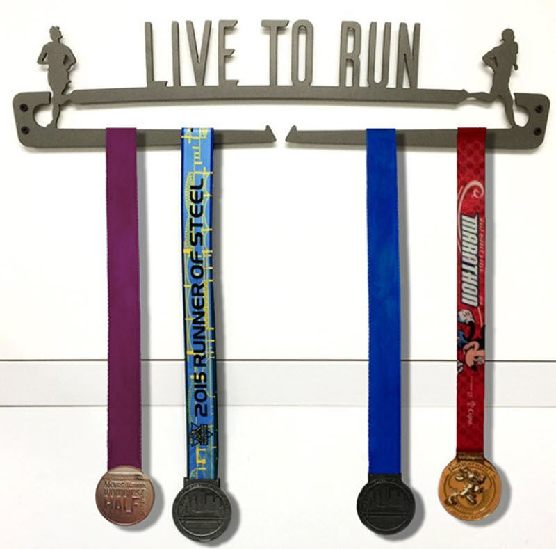 """Race Medal and Ribbon Display """"Live to Run"""""""