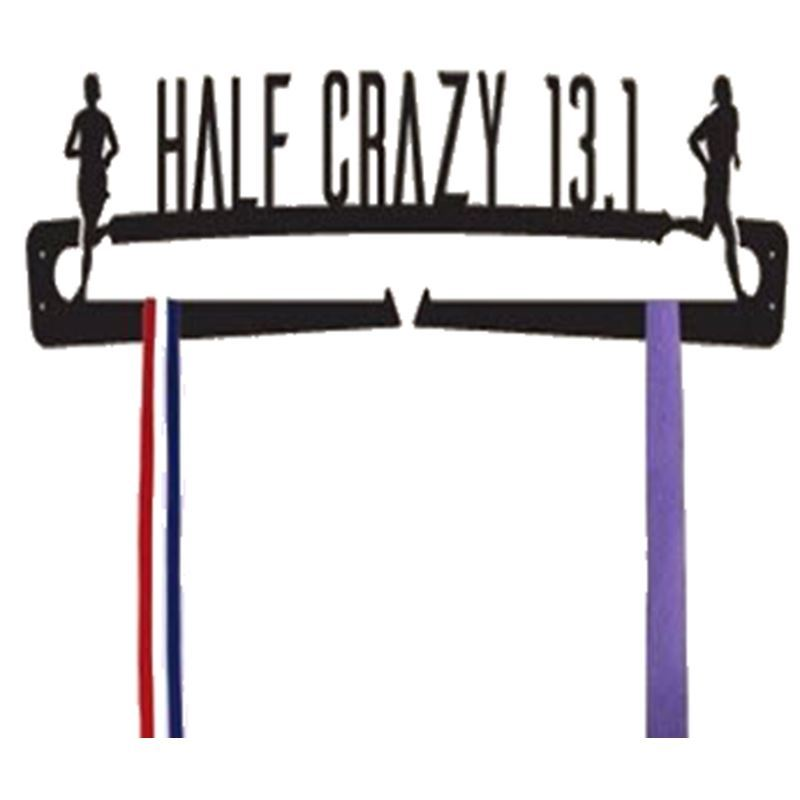 Half Marathon Medal Display, Half Crazy, 24″ Wide x 5 1/4″ Tall