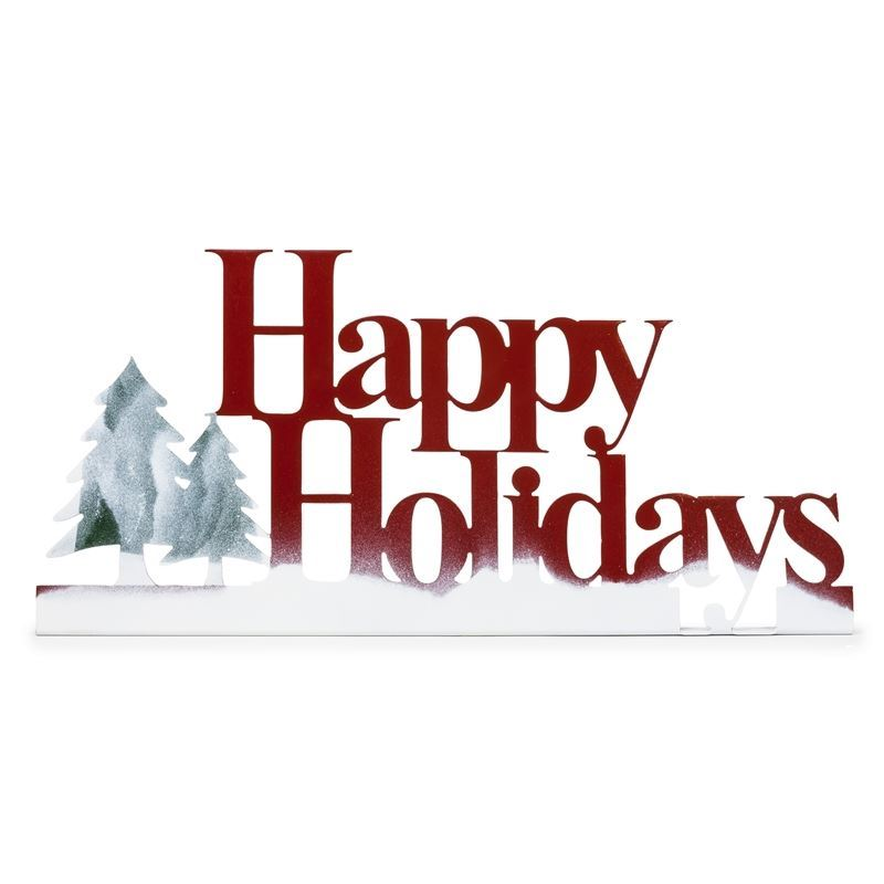 Happy Holidays Stand Up Metal Sign
