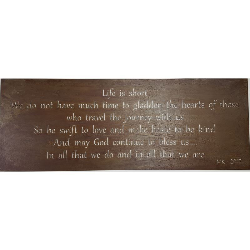Metal Sign – Life is short, 32.5″ x 12″(Shown here in Rust Patina)