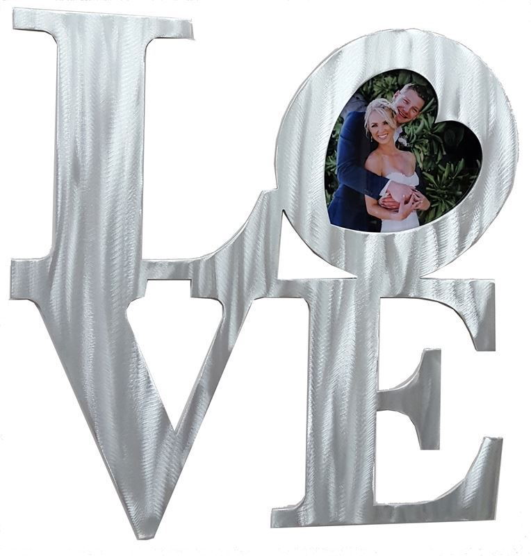 Love Block Metal Sign with Acrylic Picture in the heart shape O