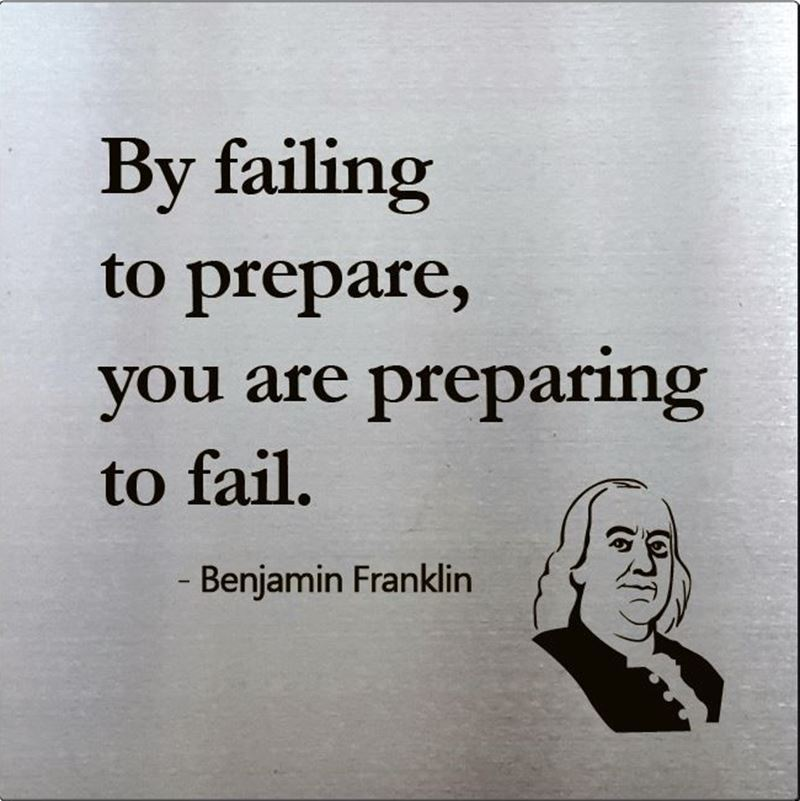 Ben Franklin on Preparation, 15 x 15, Stainless Steel Etched