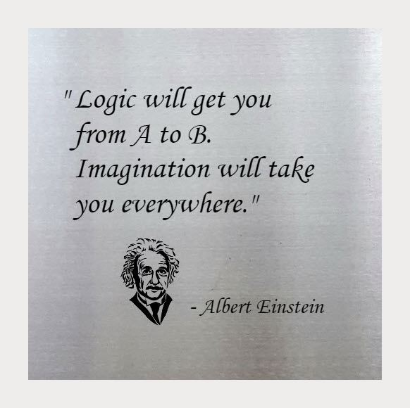 Albert Einstein, From A to B, 15 x 15, Stainless Steel Etched