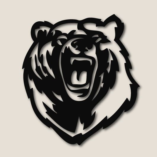 Bear Roaring, Carbon Steel, 2 sizes available